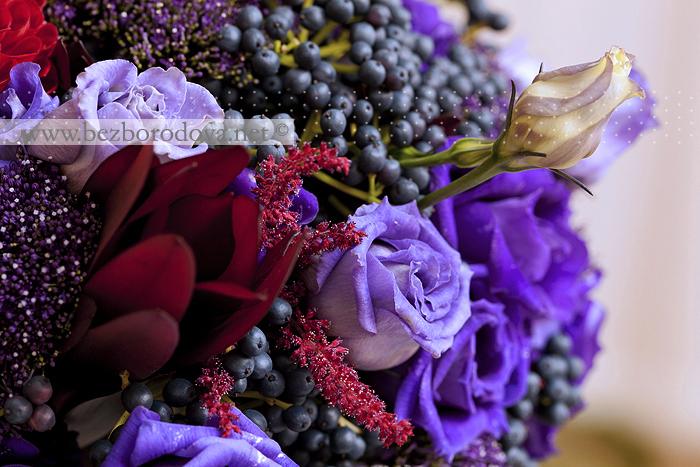 Фиолетовый свадебный букет Георгины, Эустомы