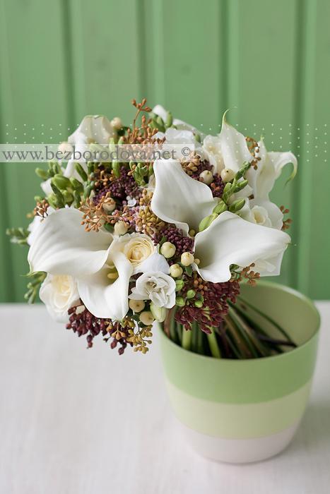 Белый свадебный букет, Кремовый свадебный букет, Коричневый
