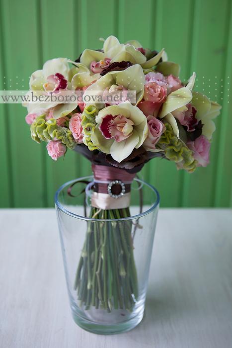 Букет невесты, Гвоздика, Зеленый букет, Коричневый свадебный букет, Розовые розы, Розовый, Розовый свадебный букет, Розы, Свадебный букет, Свадебный букет