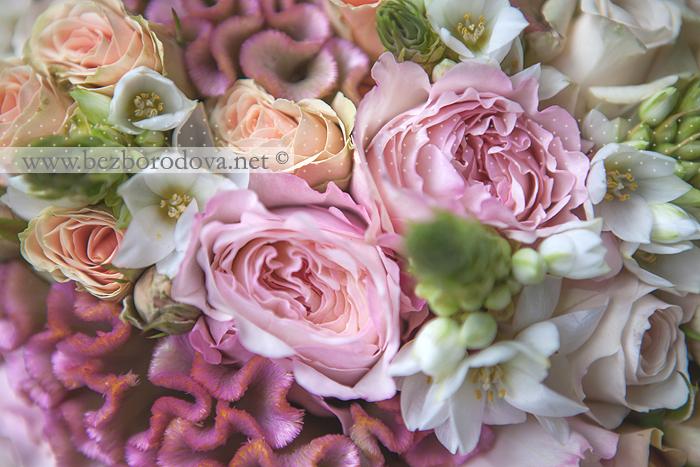 Розовый свадебный букет из роз дэвид