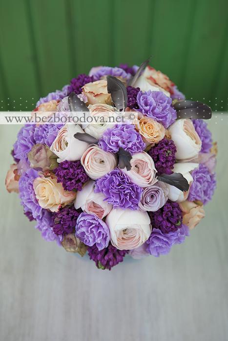Свадебный букет из ранункулюсов с гиацинтами и розами