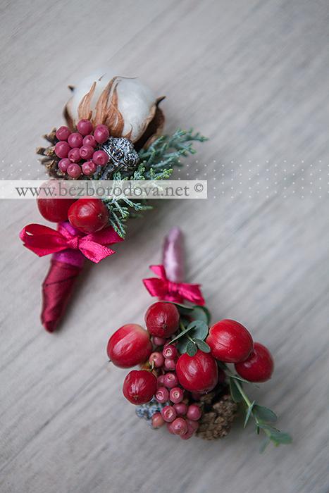 Необычная бутоньерка с ягодами, хлопком и шишками