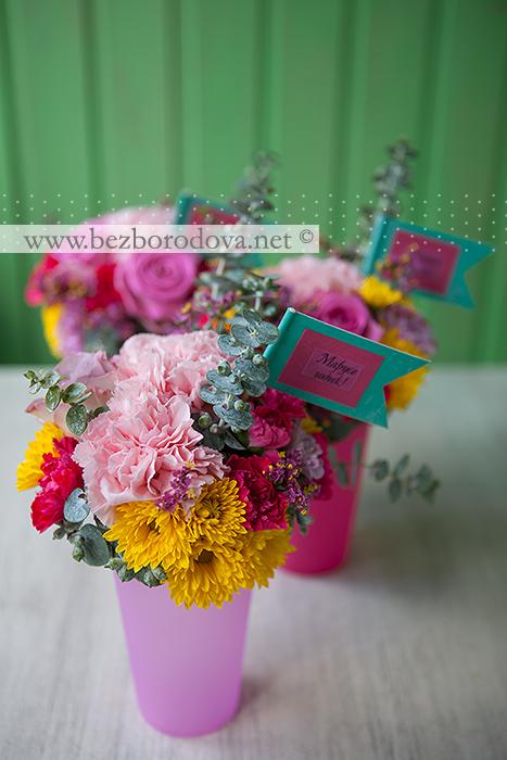 Мини композиции из цветов для оформления детского дня рождения