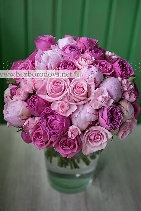 Розовый букет невесты из пионов и пионовидных роз